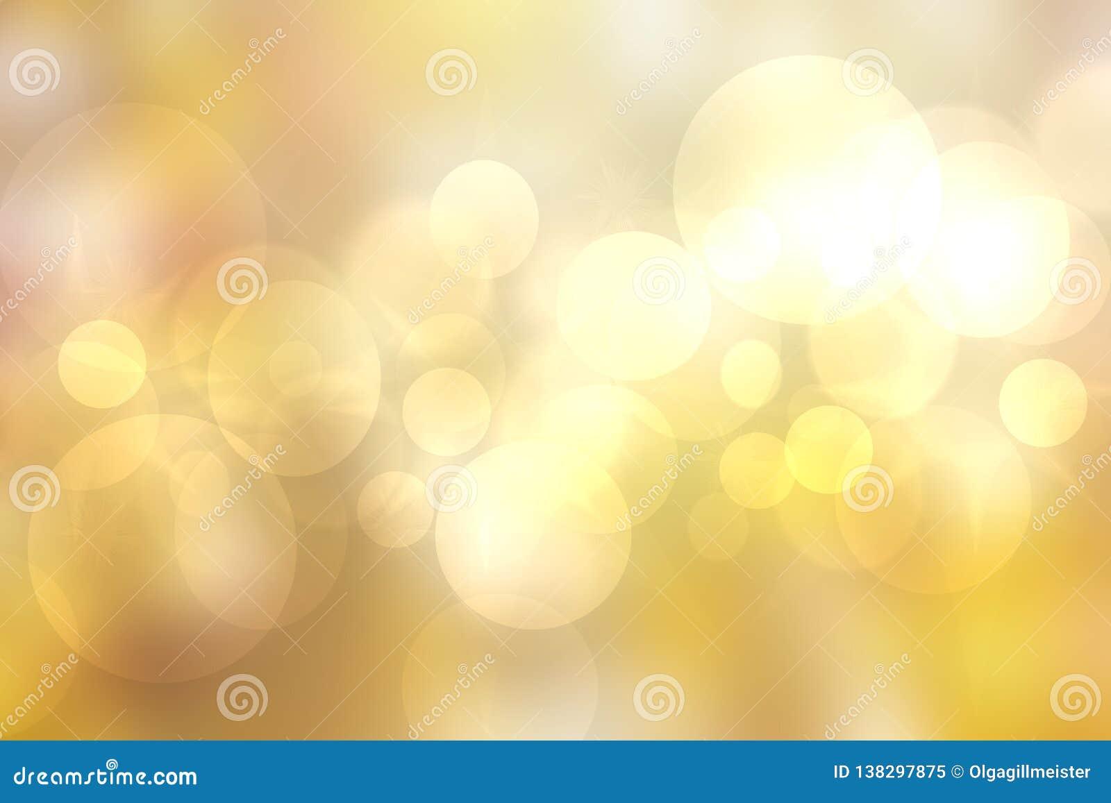 Abstrakt gul ljus texturbokehbakgrund med guld- glans