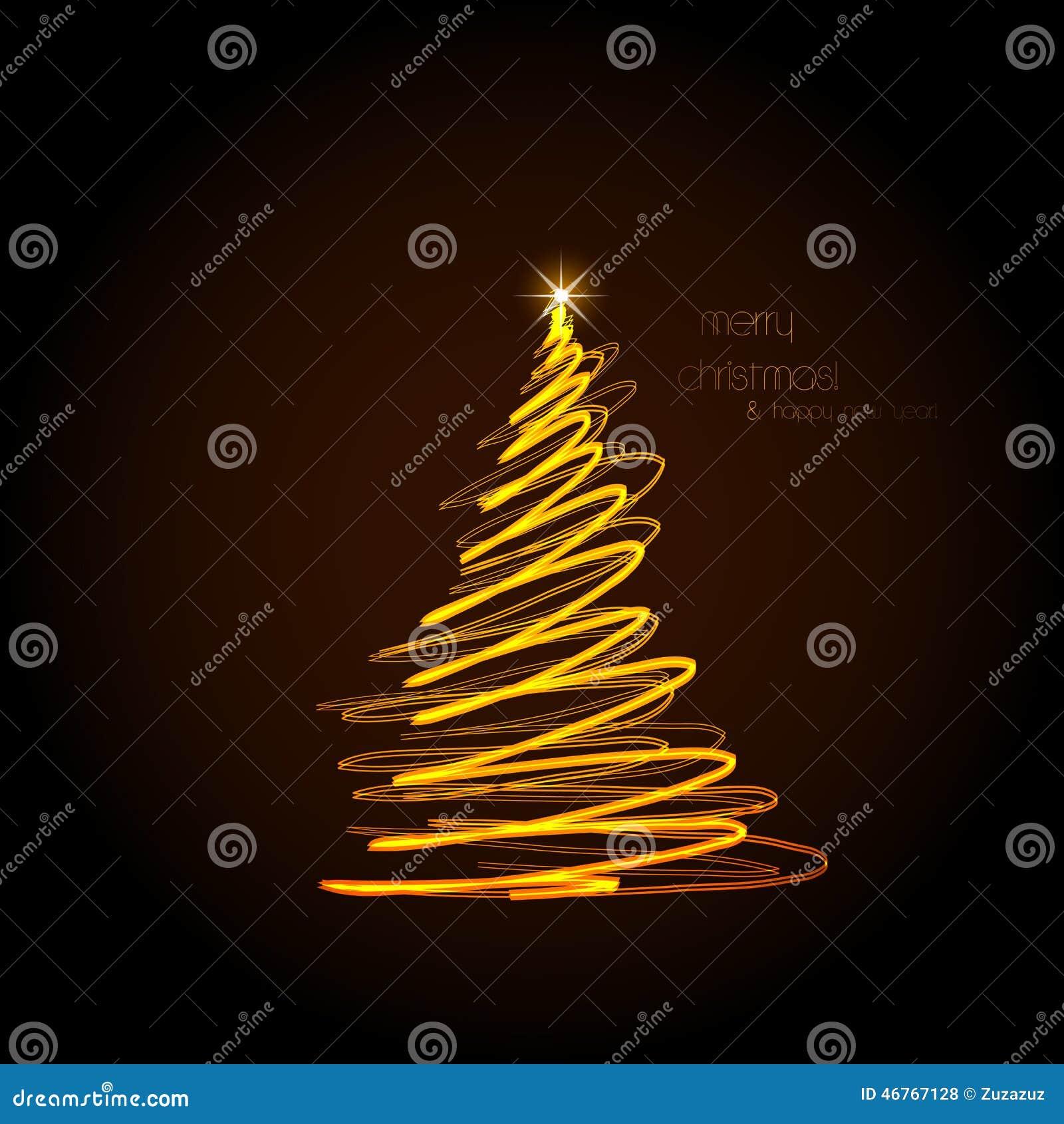 Abstrakt guld- julträd, lätt redigerbart