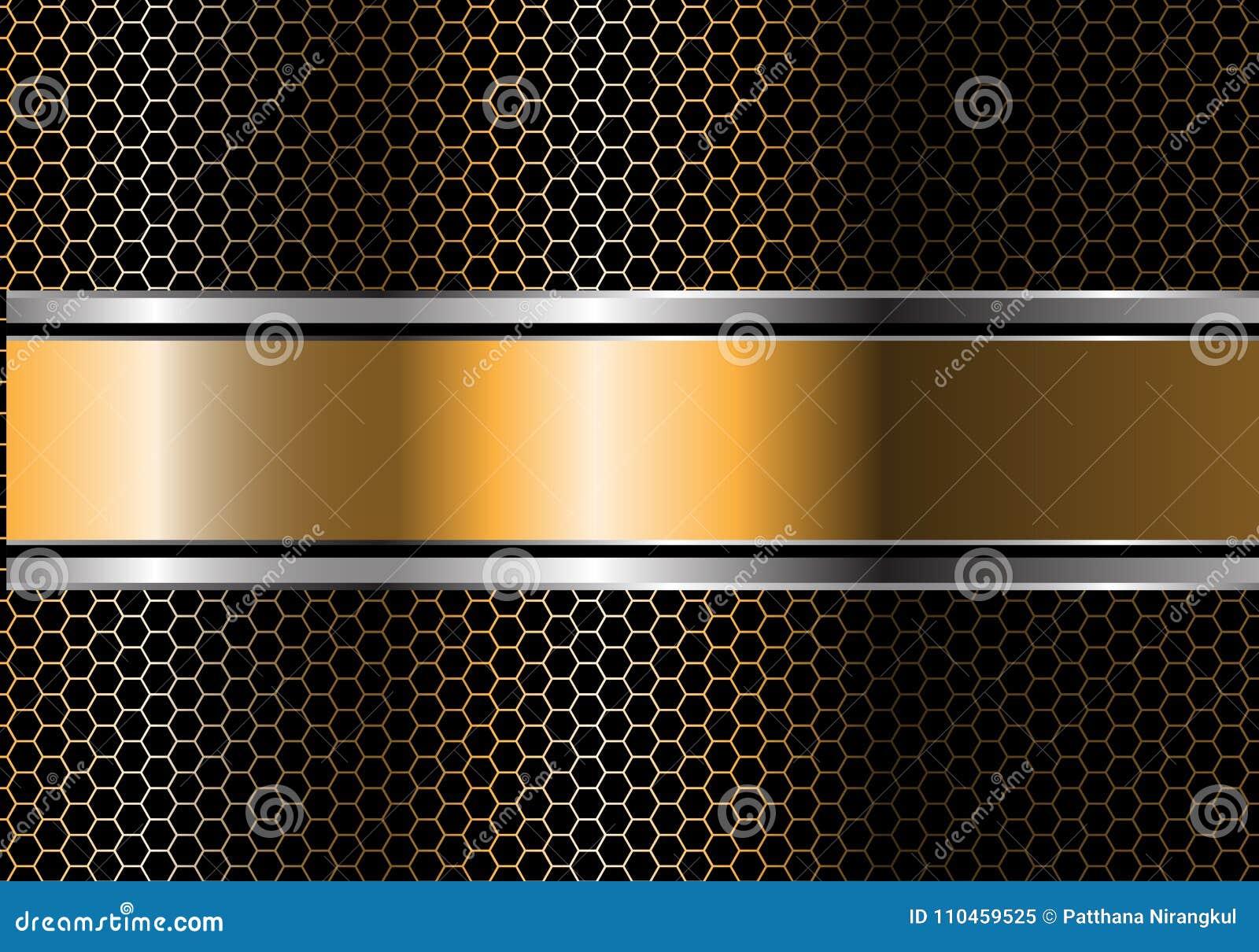 Abstrakt guld- silversvartlinje baneröverlappning på vektor för bakgrund för design för metallsexhörningsingrepp modern lyxig fut