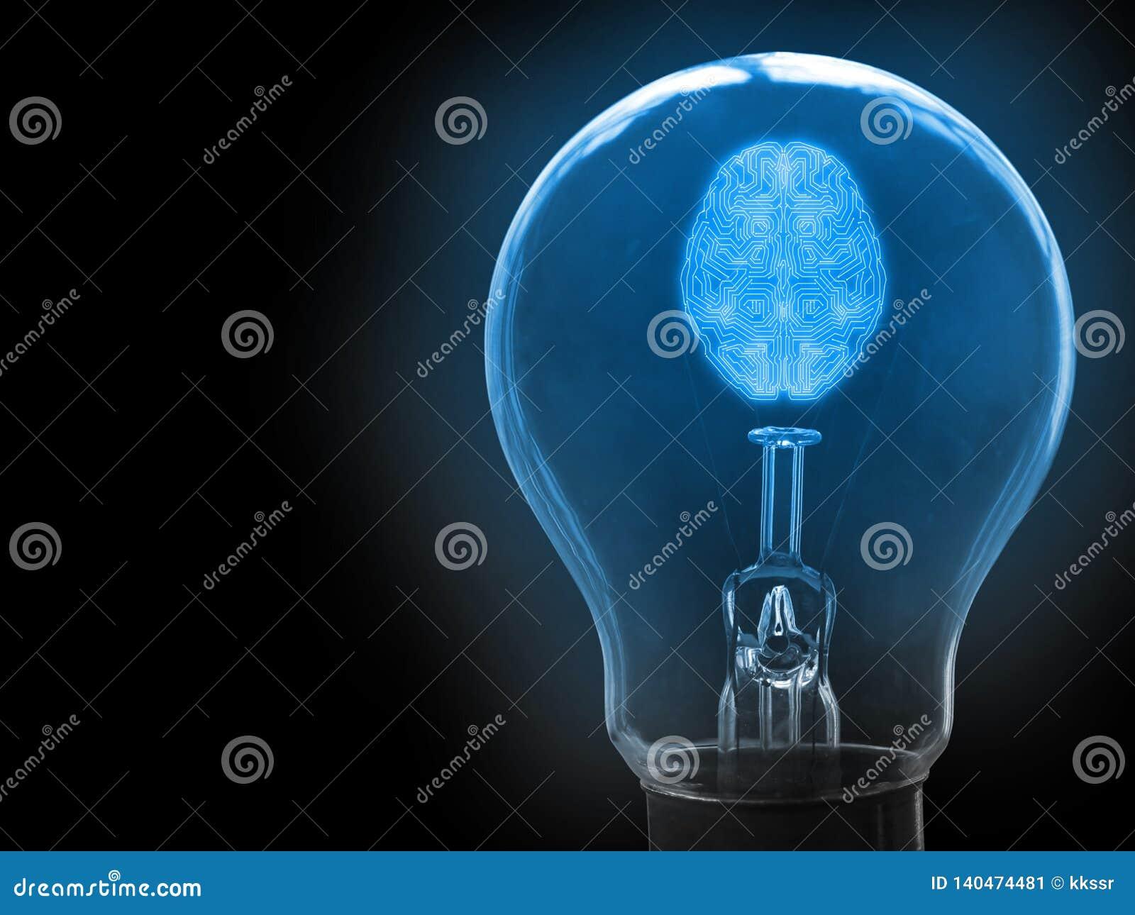 Abstrakt hjärna för android för konstgjord intelligens för mekaniker i ljus kula Begrepp av att få ny idé genom att använda AI fö