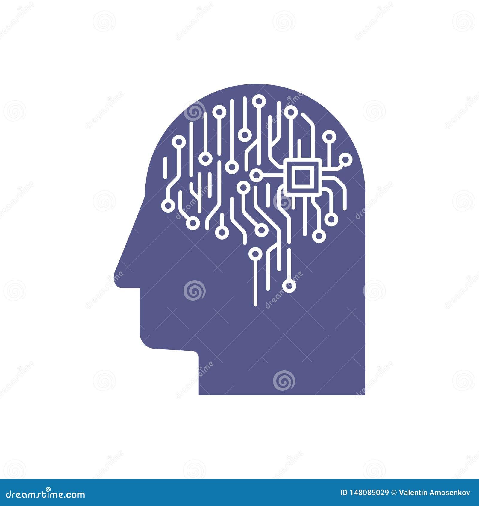 Abstrakt illustration av en hj?rna f?r br?de f?r elektronisk str?mkrets i profilen, begrepp f?r konstgjord intelligens f?r ai