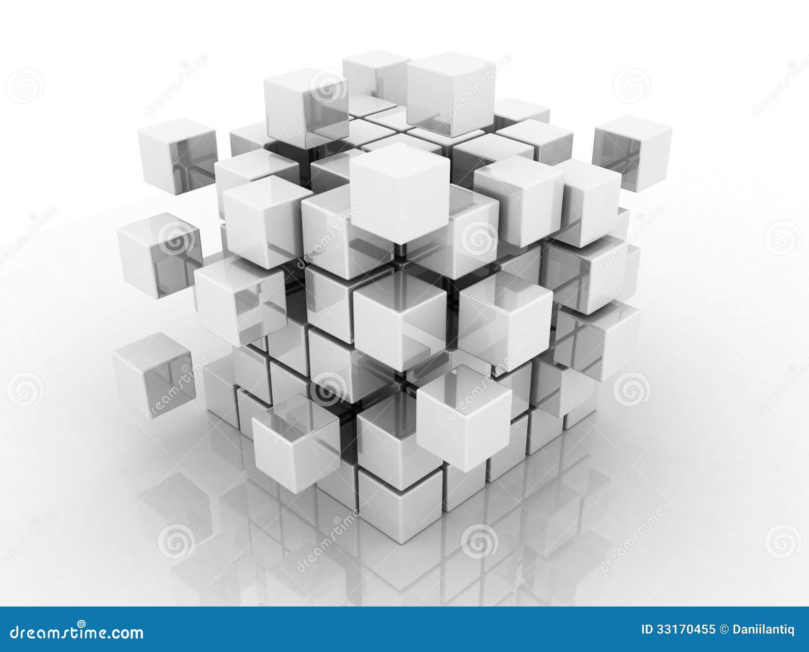 Abstrakt illustration 3d av kuben som monterar från kvarter