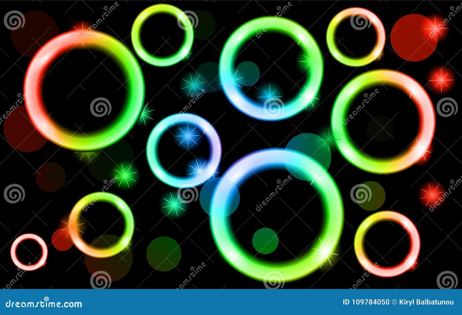 Abstrakt jarzy się okręgi, stubarwny, neonowy, błyszczący, jaskrawy, piłki, bąble, lekcy punkty z gwiazdami na czarnym tle