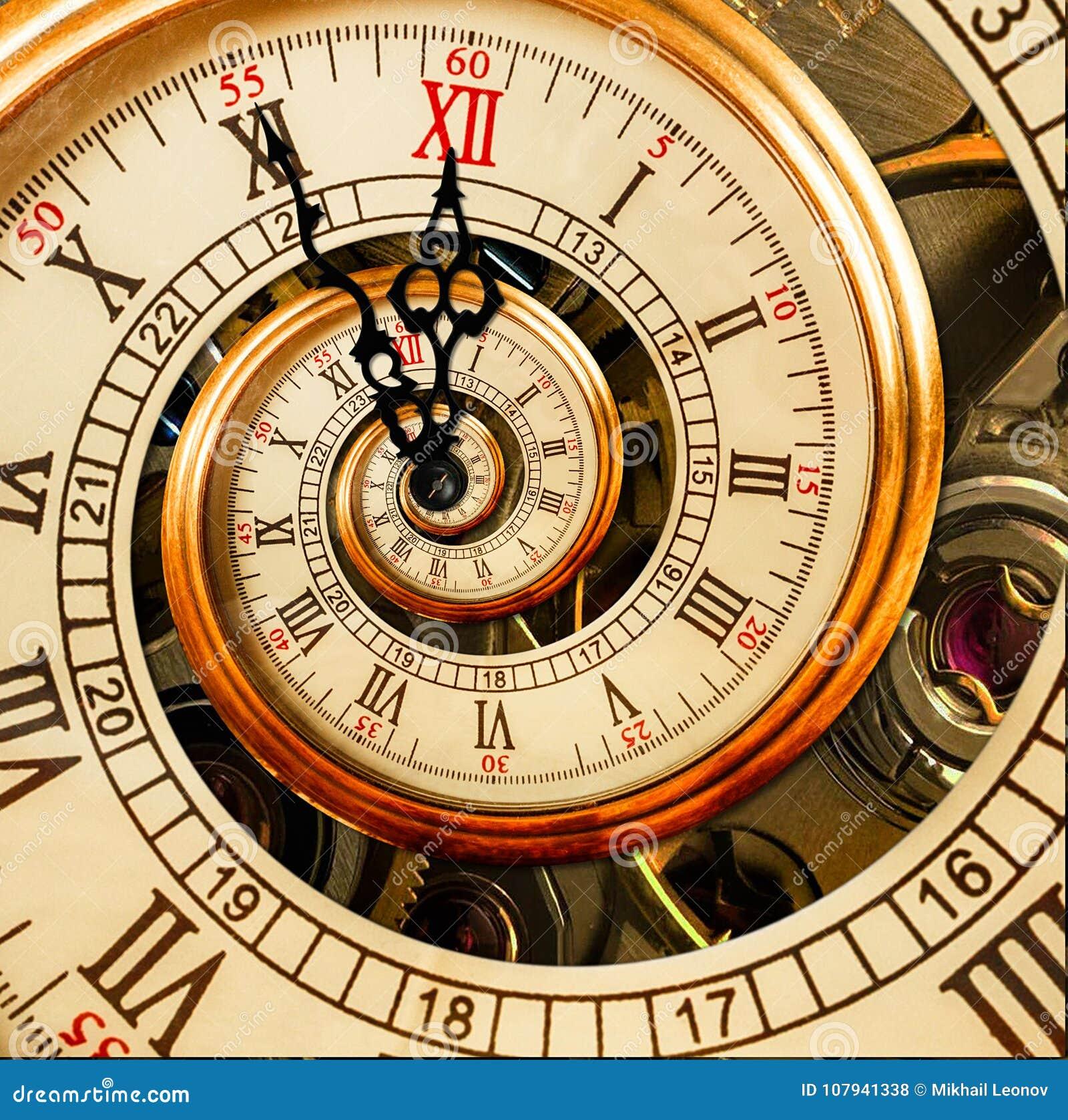 Abstrakt klocka för nytt år bakgrundsjulen stänger upp röd tid Vykort 2018 för nytt år Antik gammal spiral för klockaabstrakt beg