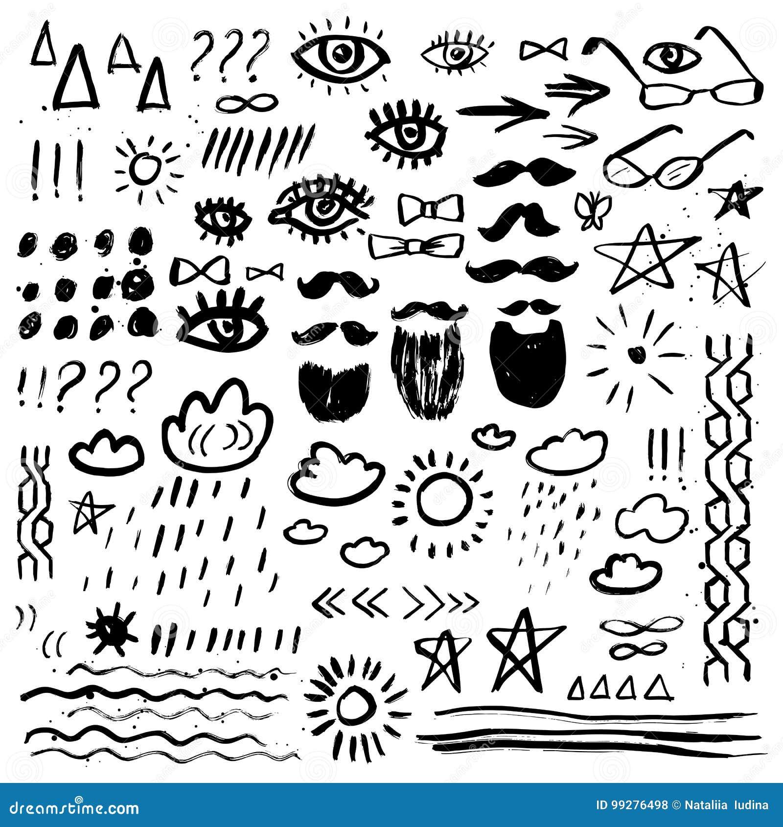 Abstrakt klotter tecknade blom- inställda handillustrationer Mustaschen skägget, ögon, stjärnor, sol, fördunklar Grunge element B
