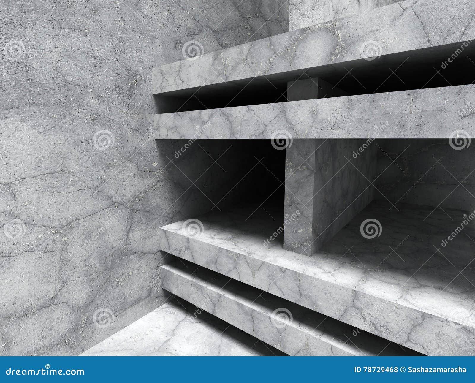 Abstrakt konkret arkitektur Geometrisk sprucken des för stenvägg