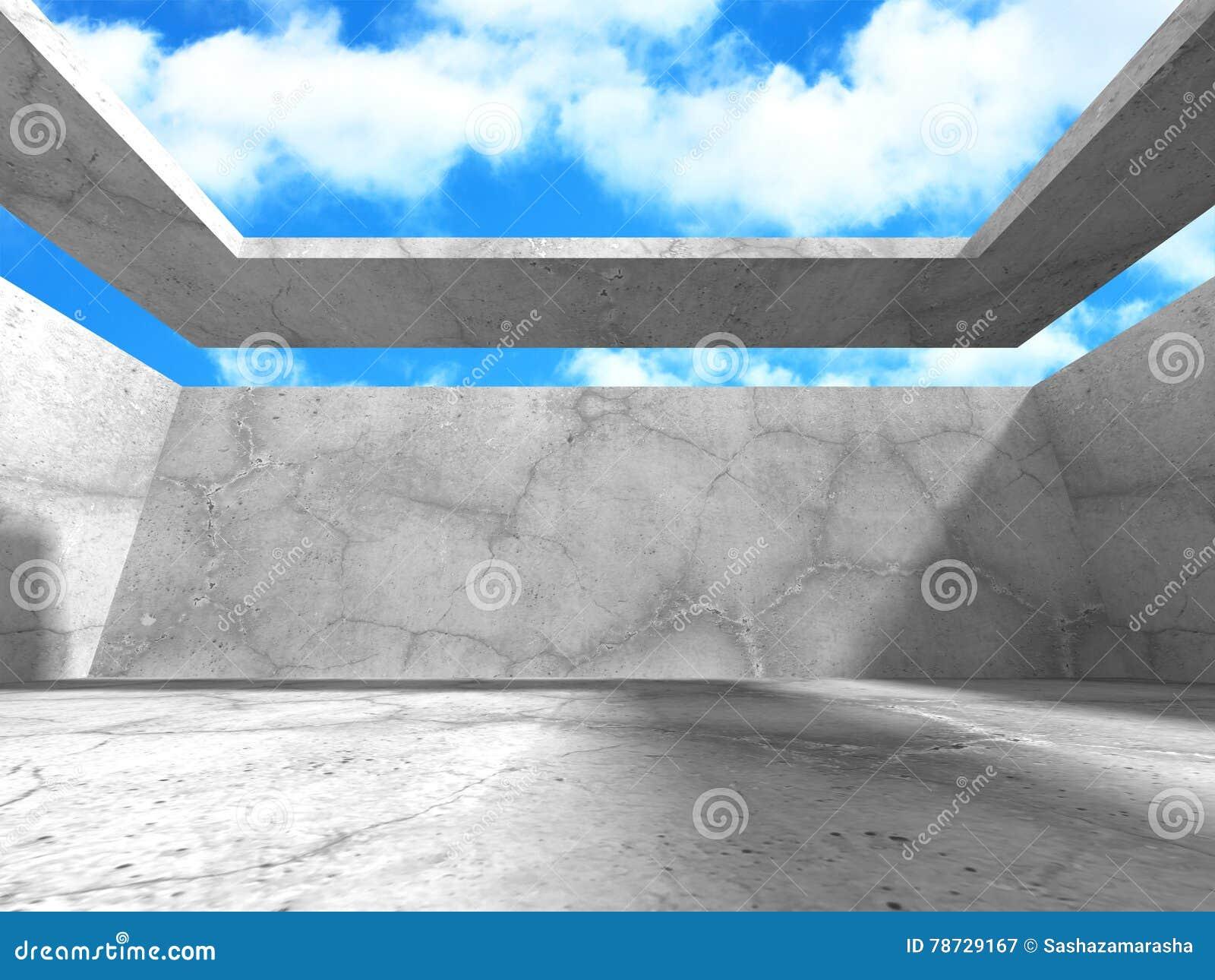 Abstrakt konkret arkitektur på himmelbakgrund