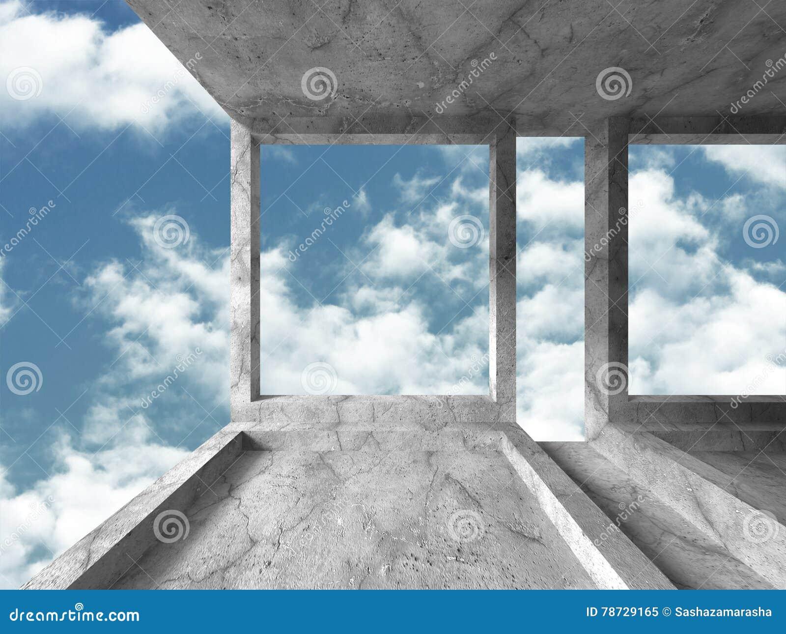 Abstrakt konkret arkitektur på molnhimmelbakgrund