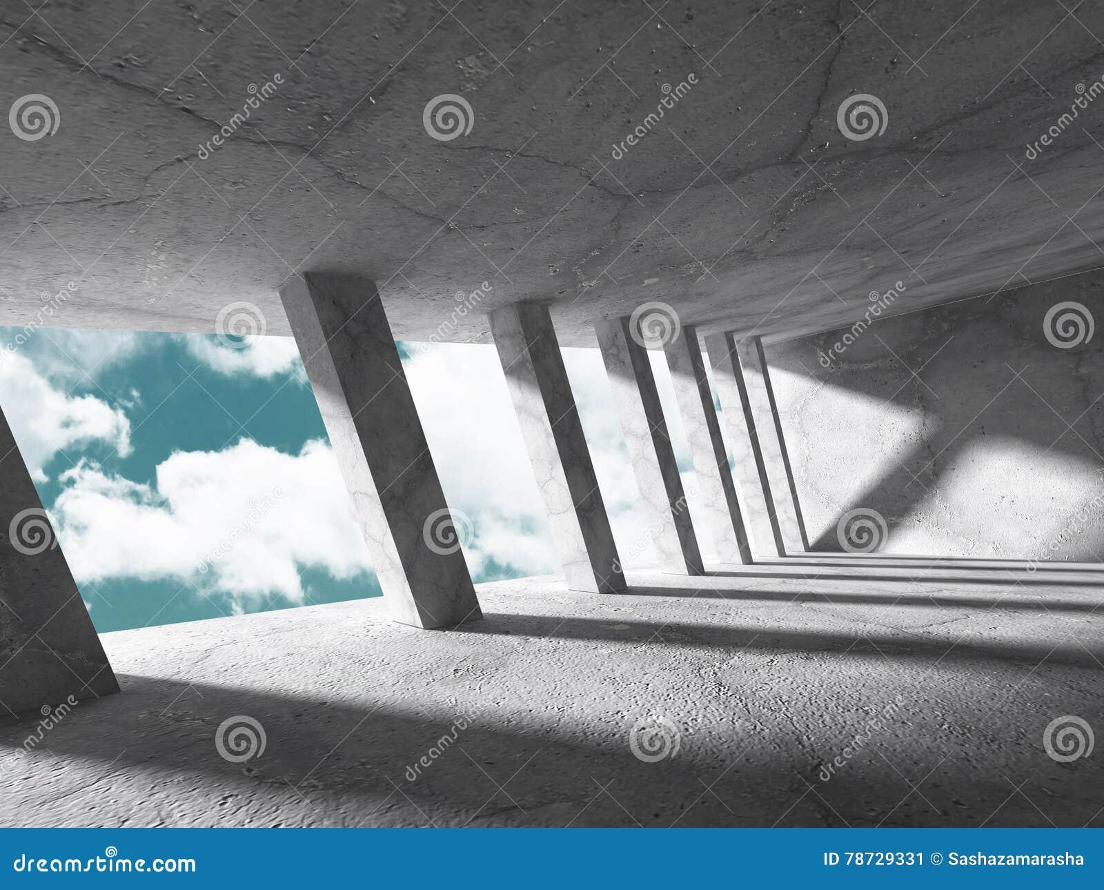 Abstrakt konkret arkitekturkonstruktion på himmelbakgrund