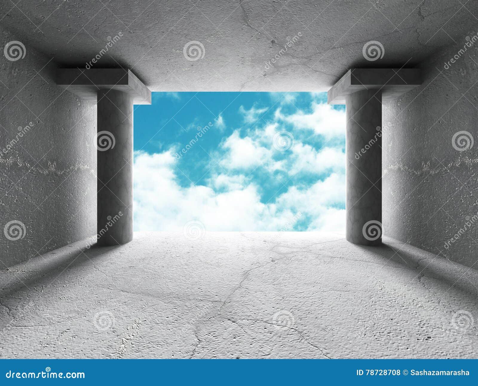 Abstrakt konkret arkitekturkonstruktionsbakgrund med himmel