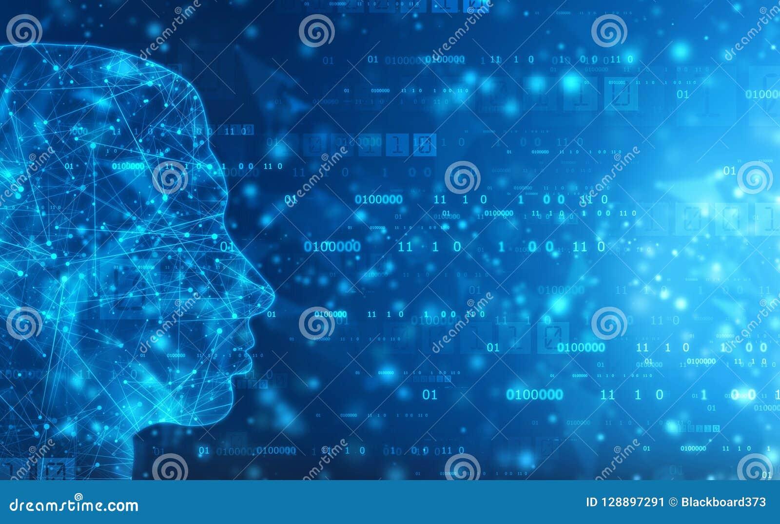 Abstrakt konstgjord intelligens Teknologirengöringsdukbakgrund Översikt för mänskligt huvud med binära koder