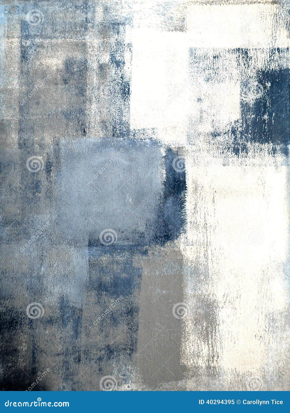 Abstrakt konstmålning för blått och för grå färg
