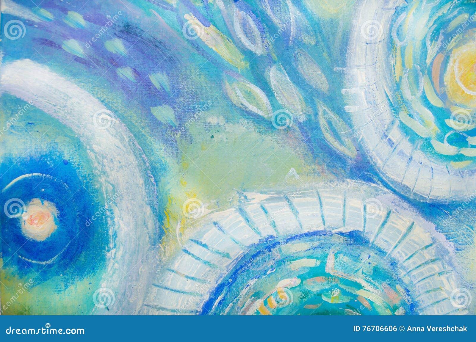 Abstrakt konstmålning meno för lombok för giliindonesia ö nära den undervattens- världen för havssköldpadda Abstrakt målad bakgru