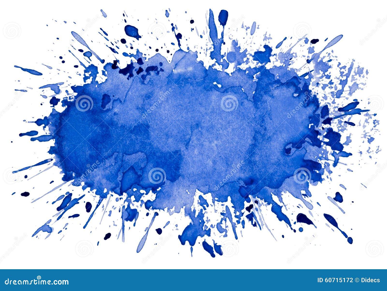 Abstrakt konstnärlig blå bakgrund för vattenfärgfärgstänkobjekt