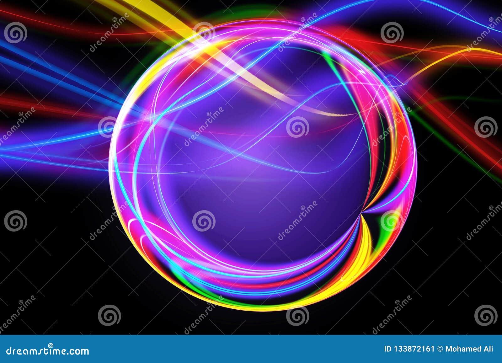 Abstrakt konstnärlig mångfärgad Digital aktiverad cirkelkonstverkbakgrund