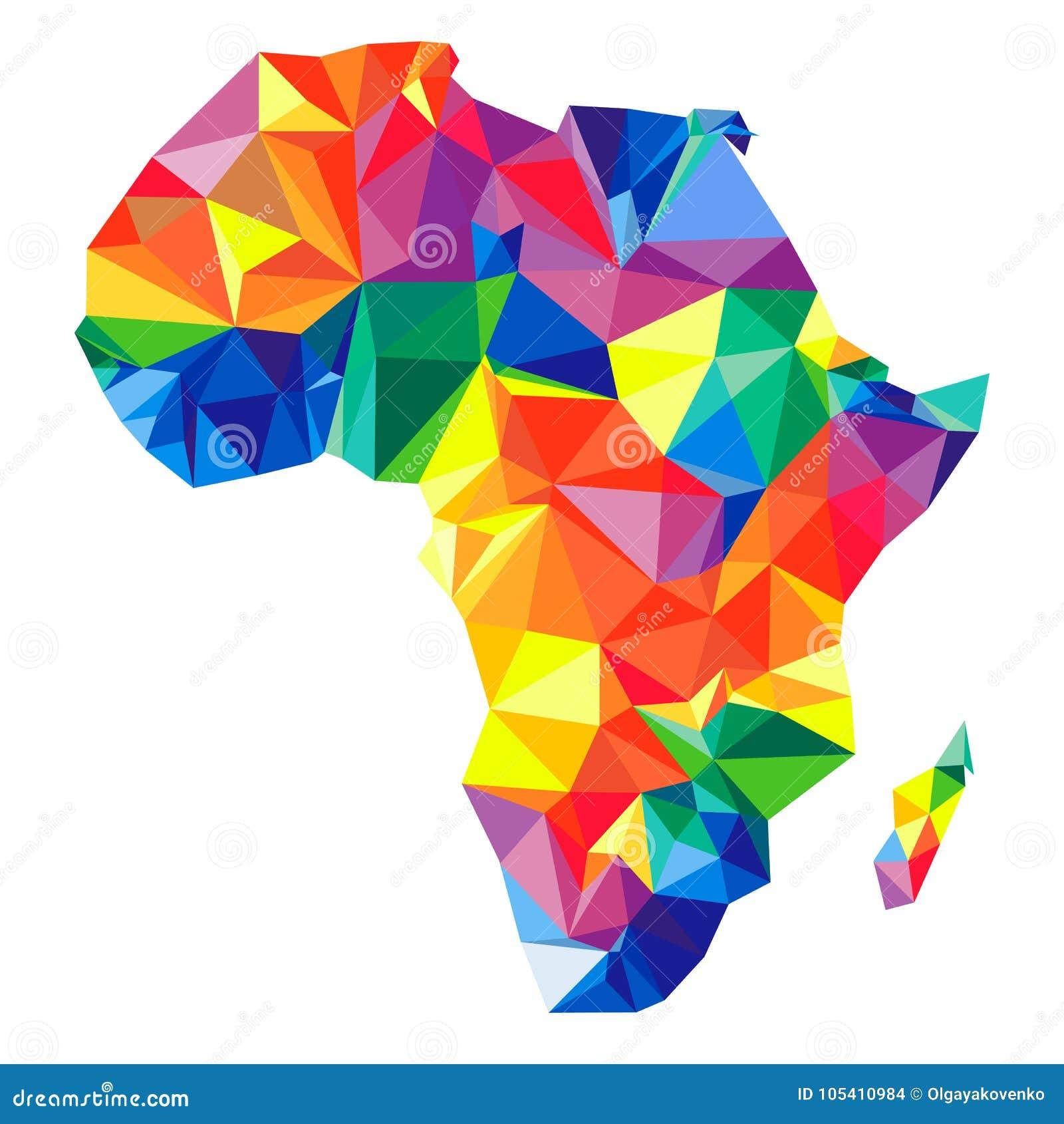Abstrakt kontinent av Afrika från trianglar Origamistil