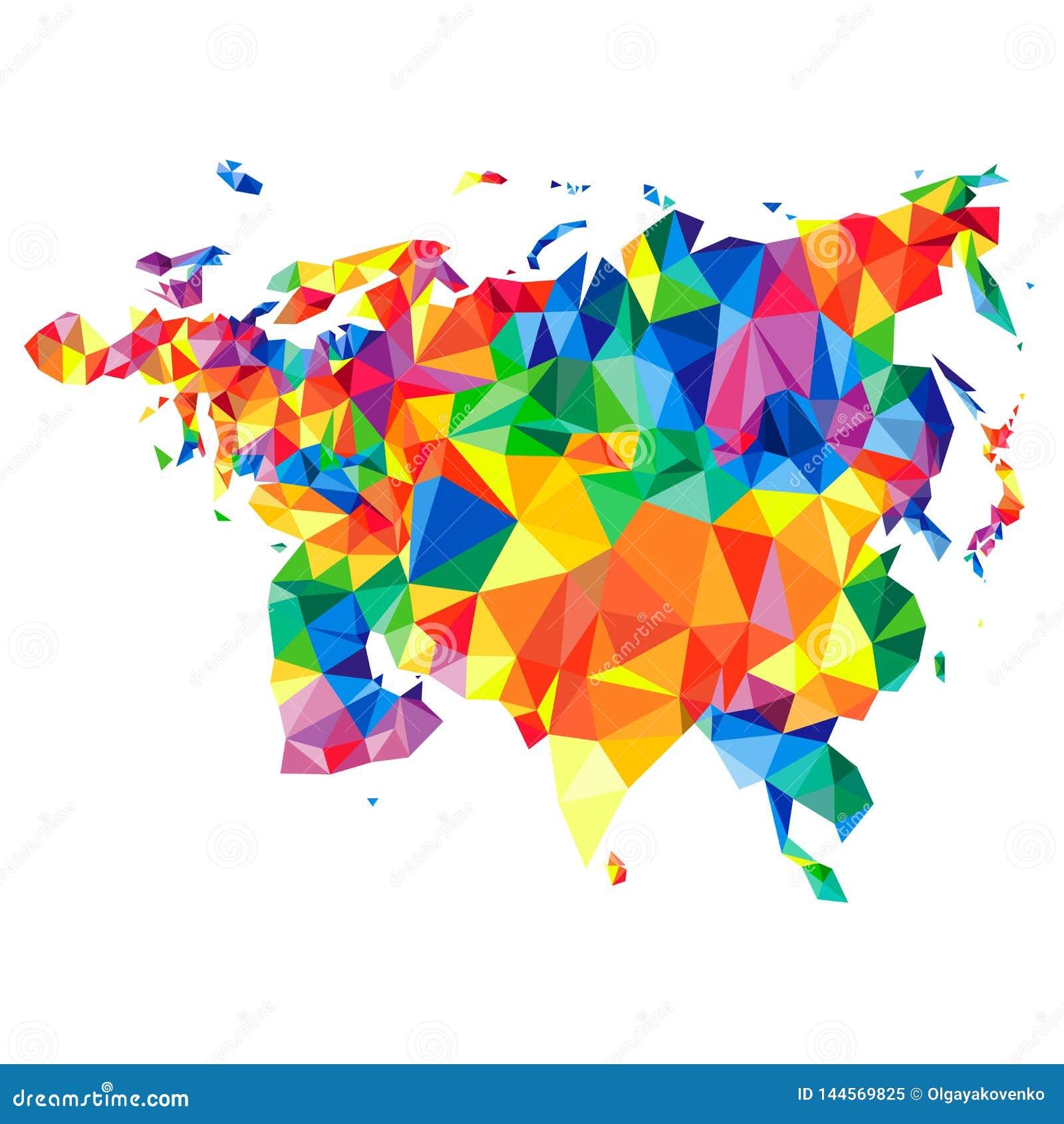 Abstrakt kontinent av Eurasia fr?n trianglar Origamistil Polygonal modell