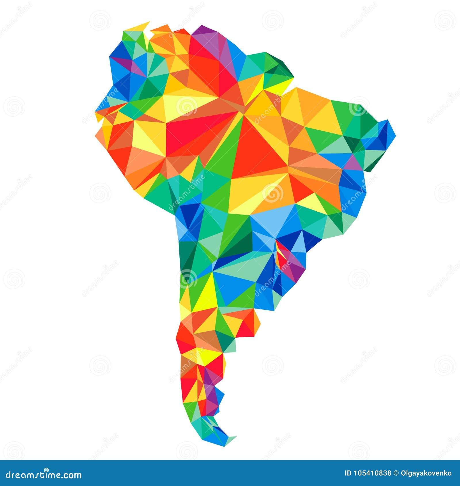 Abstrakt kontinent av Sydamerika från trianglar Origamistil