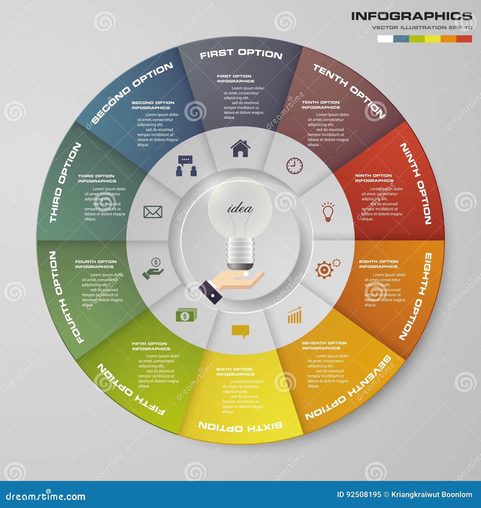Abstrakt 10 kroczy nowożytnych pasztetowej mapy infographics elementy również zwrócić corel ilustracji wektora