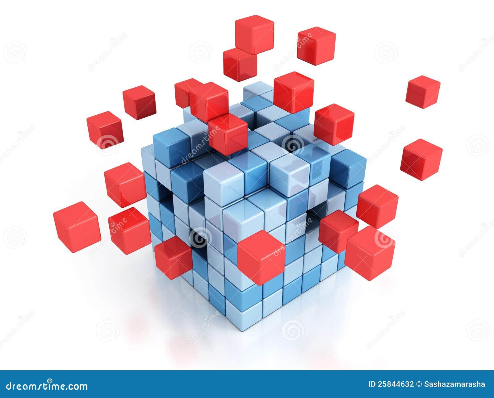 Abstrakt kub som 3d monterar från block på white