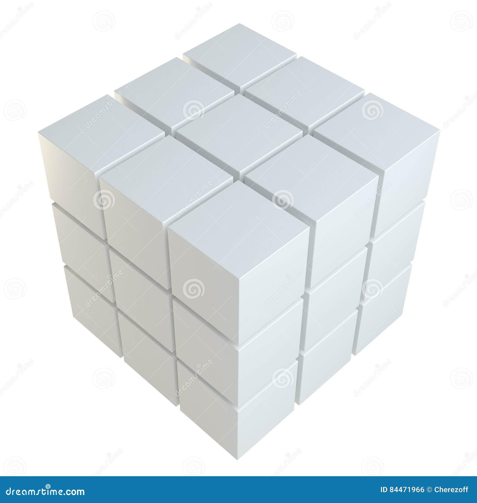 Abstrakt kub som monterar från kvarter