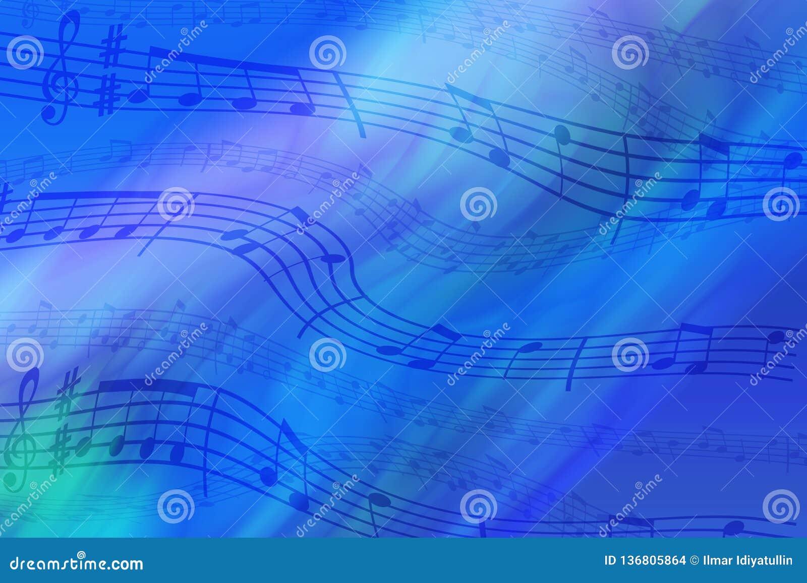 Abstrakt kulör bakgrund på temat av musik Bakgrund av krabba och kulöra band Bakgrund av stiliserade musikaliska anmärkningar