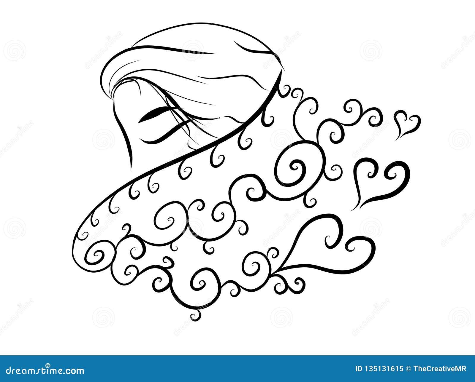 Abstrakt kvinna för minsta varm halsduk