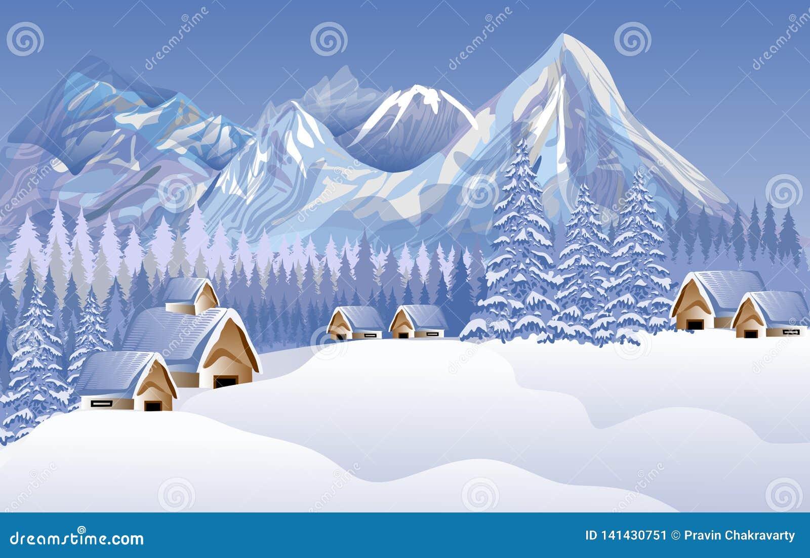 Abstrakt landskap för glad jul för vektor Hus snö solbränna två för kupor för presentationen för inbjudan för illustrationen för