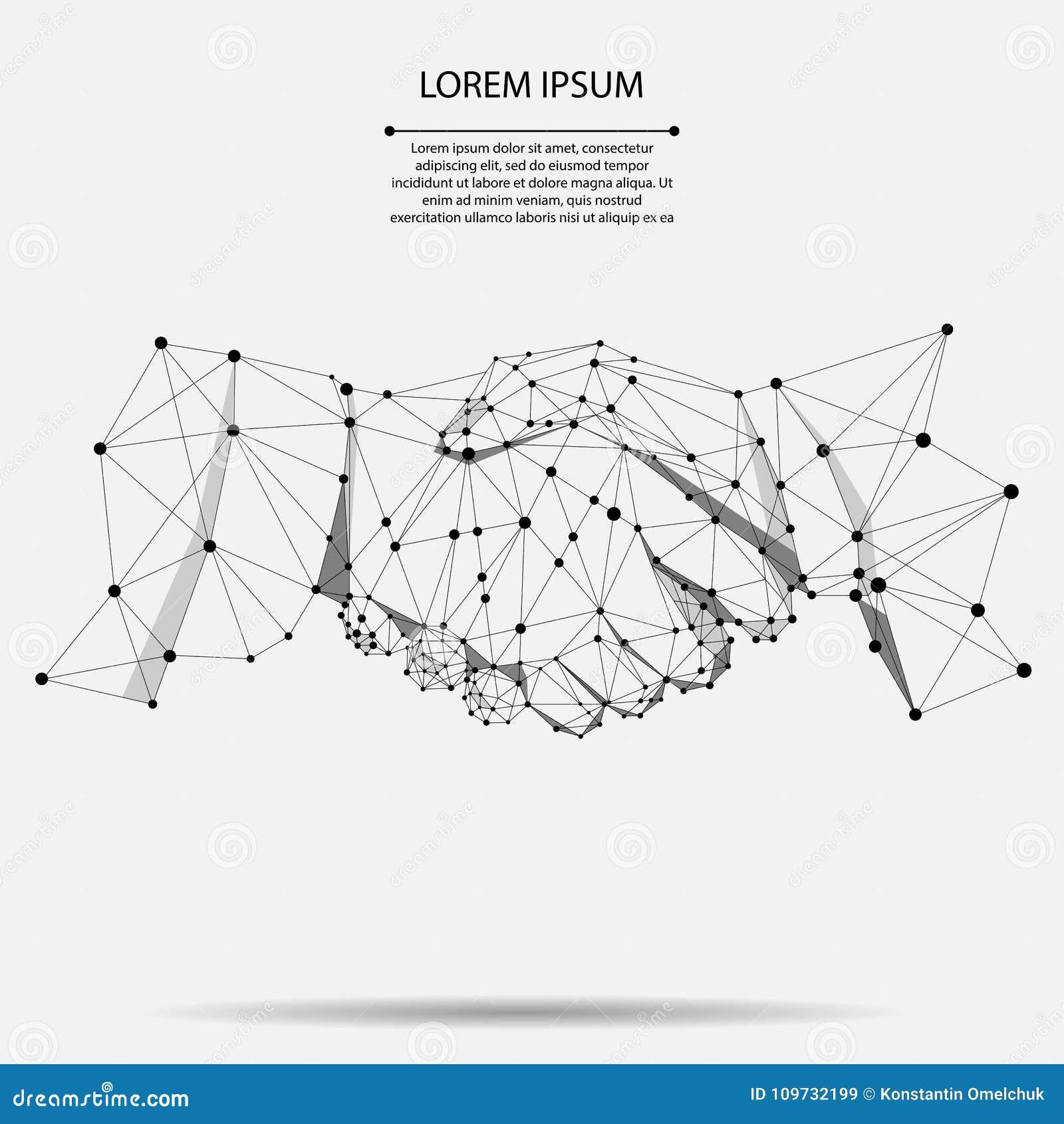 Abstrakt linia i punkt zgody uścisku dłoni biznesu pojęcie Poligonalnej punkt linii geometryczny projekt