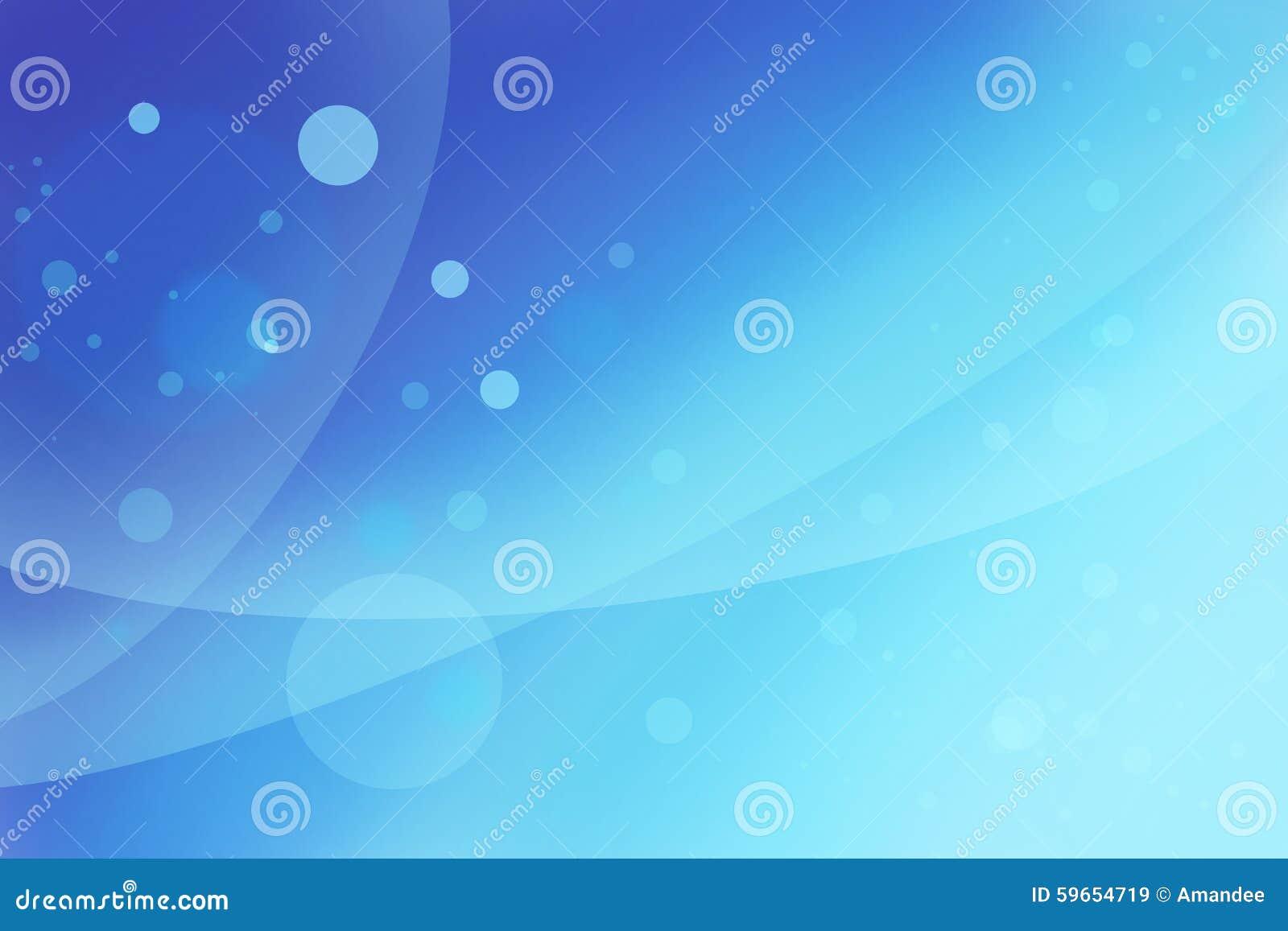 Abstrakt ljus blå bakgrund med vågor och att sväva bubblar eller cirklar