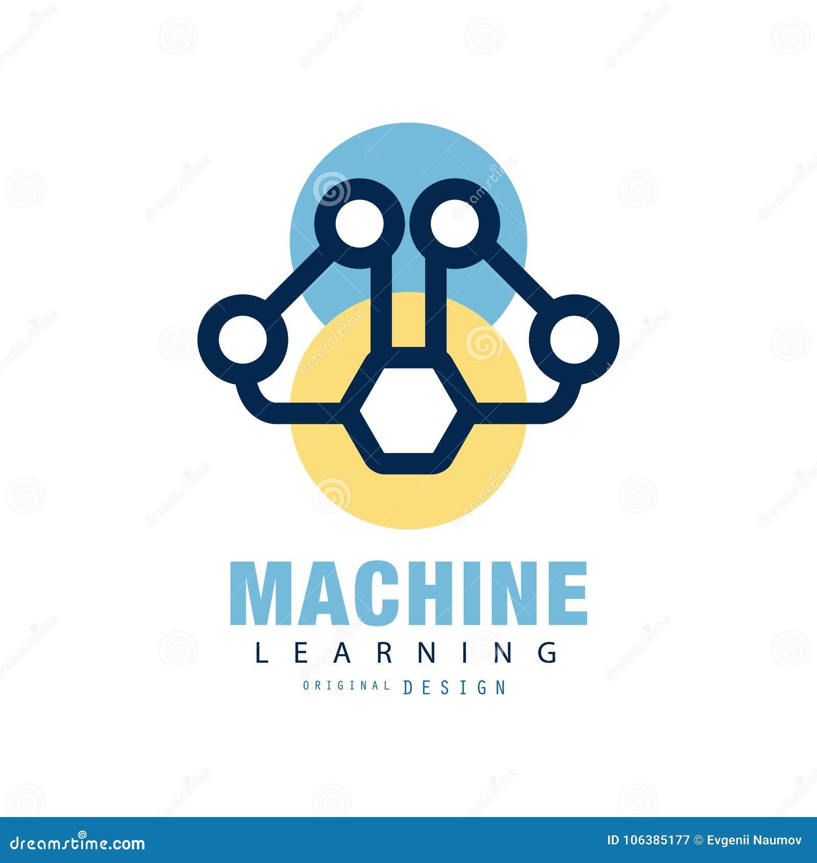 Abstrakt logodesign av att lära för maskin Begrepp av det nerv- nätverket Symbol för konstgjord intelligens Geometrisk plan vekto