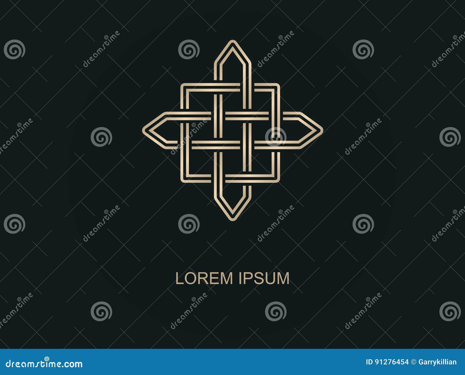 Abstrakt logovektor Geometriska Logo Design Minsta översiktsstil