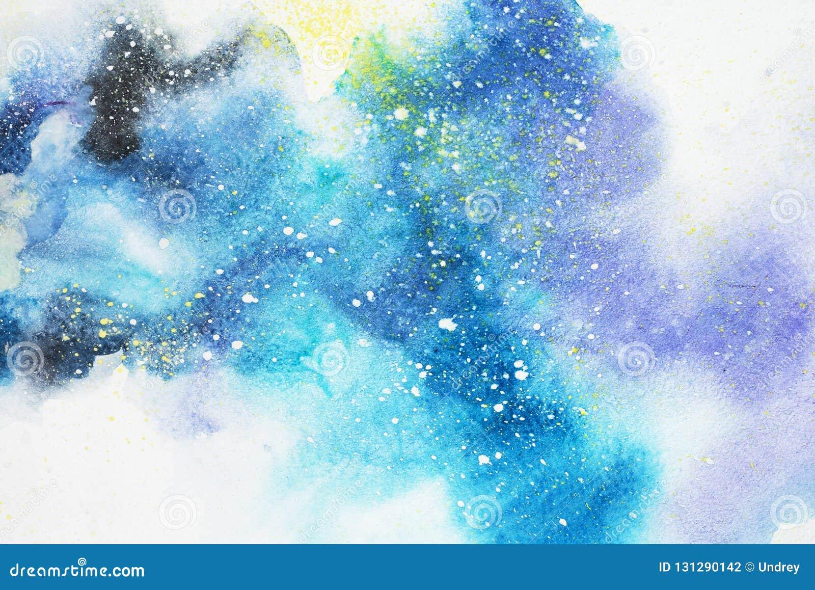 Abstrakt målning för vattenfärg Teckning för vattenfärg Färgrika fläckar texturerar bakgrund