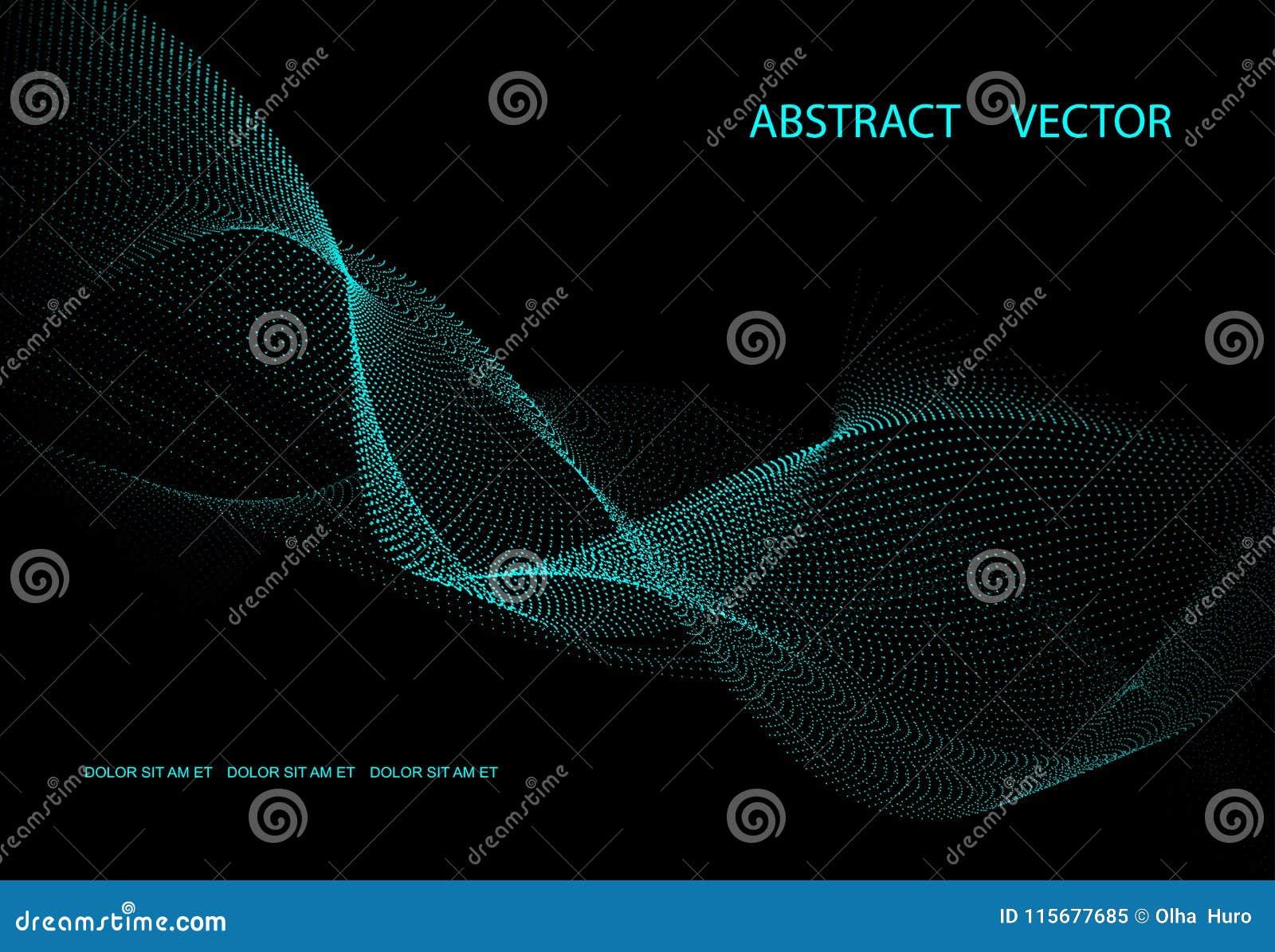 Abstrakt mörk bakgrund med blå energi Punktvågor