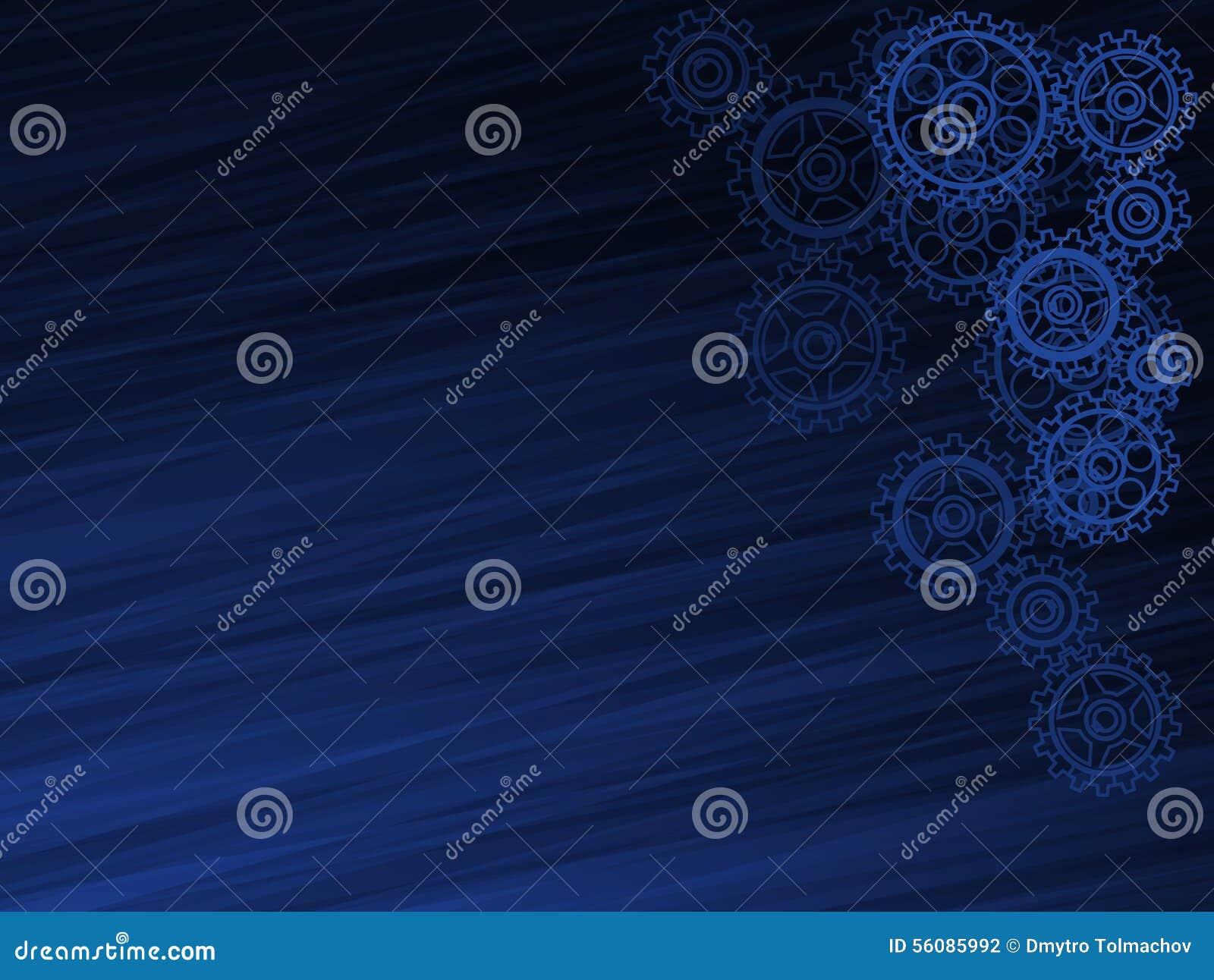 Abstrakt mörker - blå bakgrund med kugghjulen