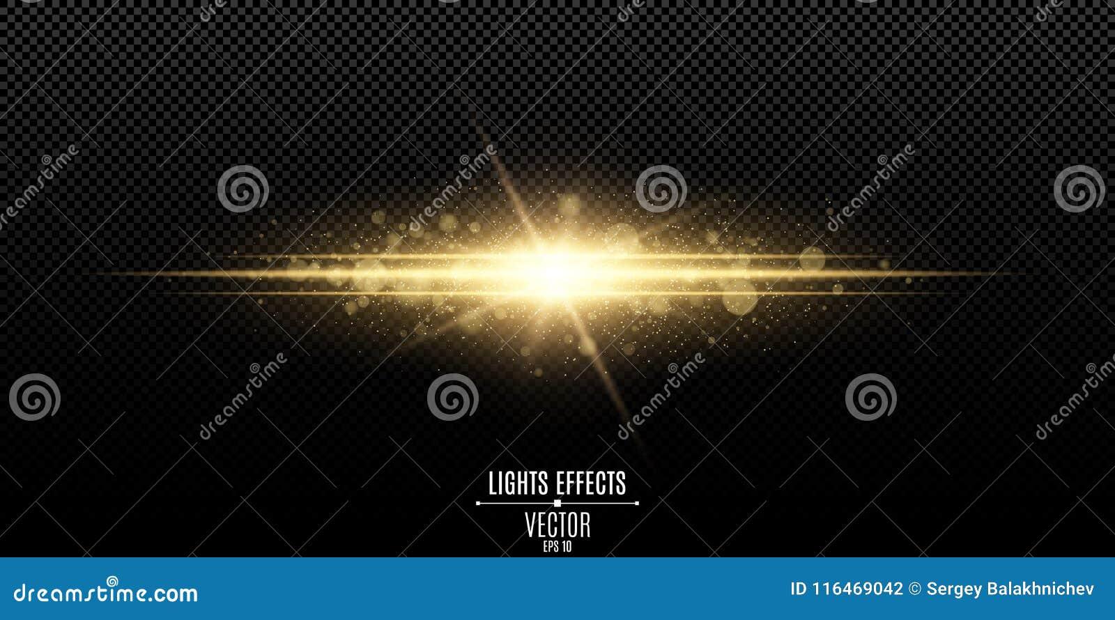 Abstrakt magisk stilfull ljus effekt på en genomskinlig bakgrund Guldexponering Lysande damm- och ilsken blickbokeh också vektor