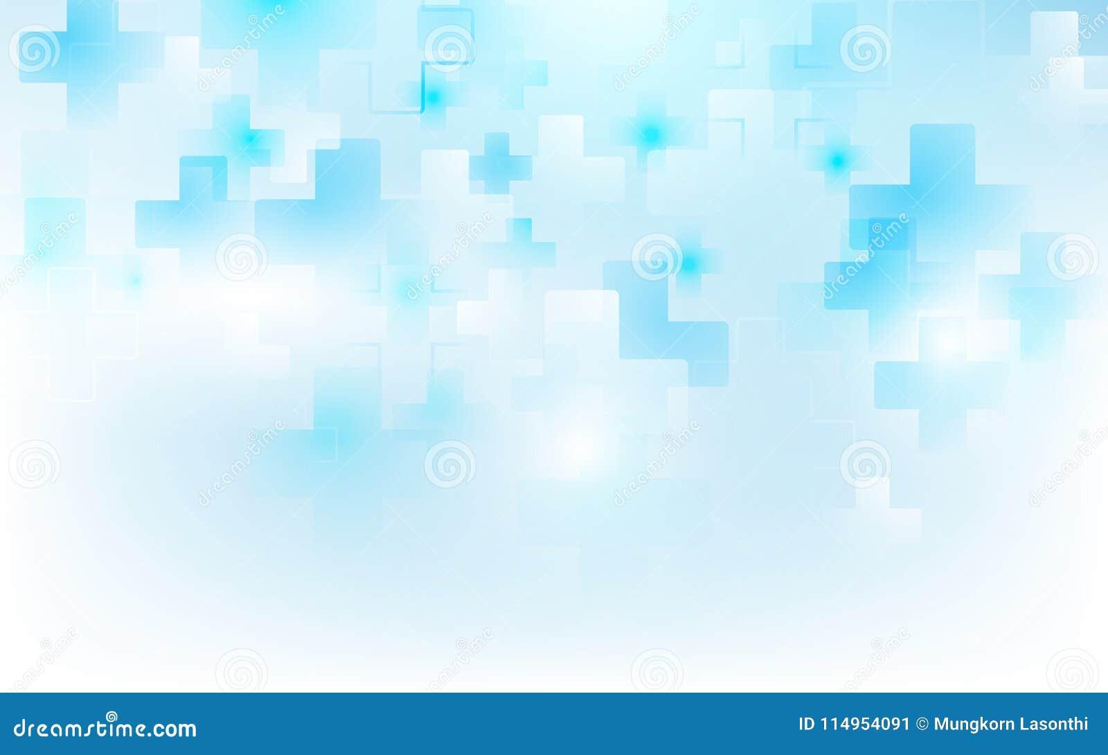 Abstrakt medicin för läkarundersökningkorsform och vetenskapsbegrepp på mjuk blå bakgrund