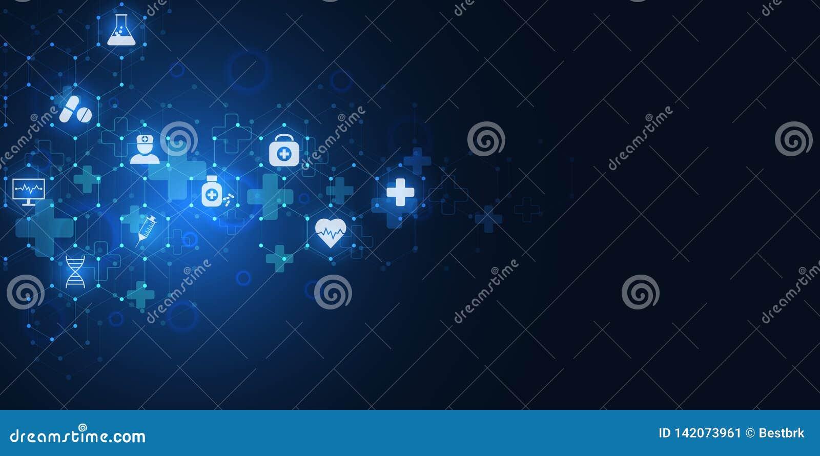 Abstrakt medicinsk bakgrund med plana symboler och symboler Begrepp och idéer för sjukvårdteknologi, innovation