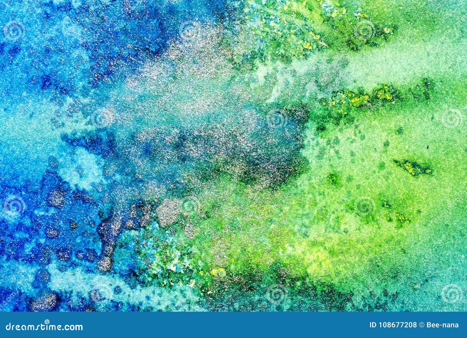 Abstrakt metallisk bakgrund för blått och för gräsplan
