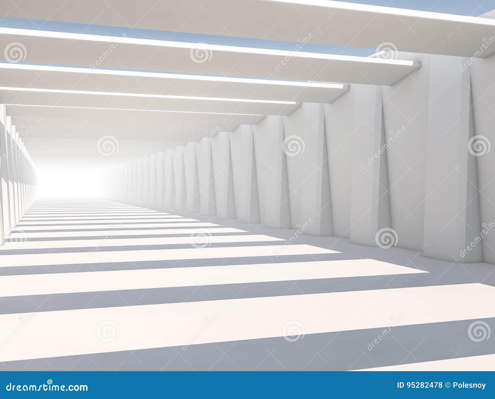 Abstrakt modern arkitekturbakgrund, tomt vitt öppet utrymme