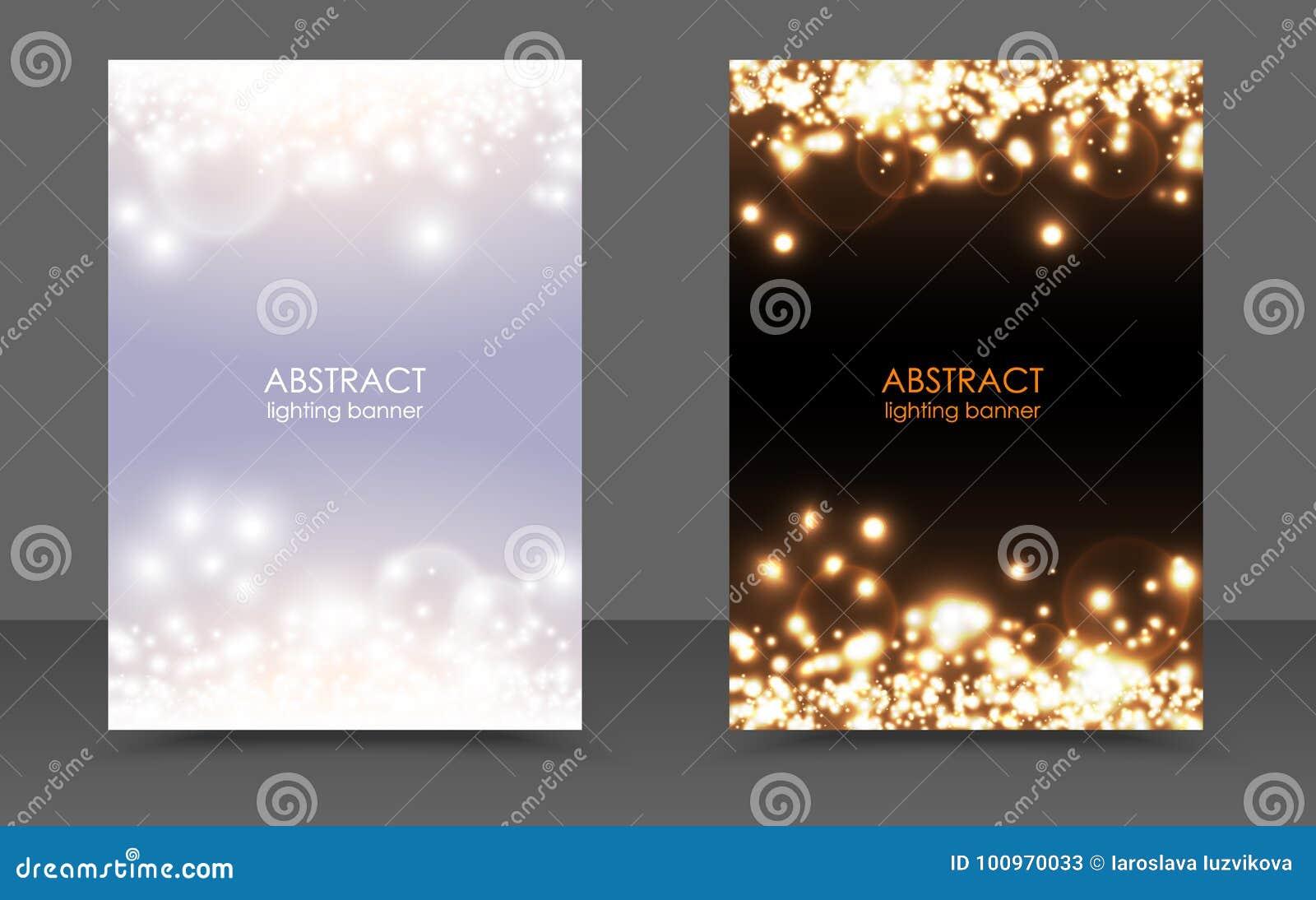 Abstrakt mousserande uppsättning för bakgrund för julljus magisk Vektorljus och ljus festlig affisch för mörkt glöd Moderna vita