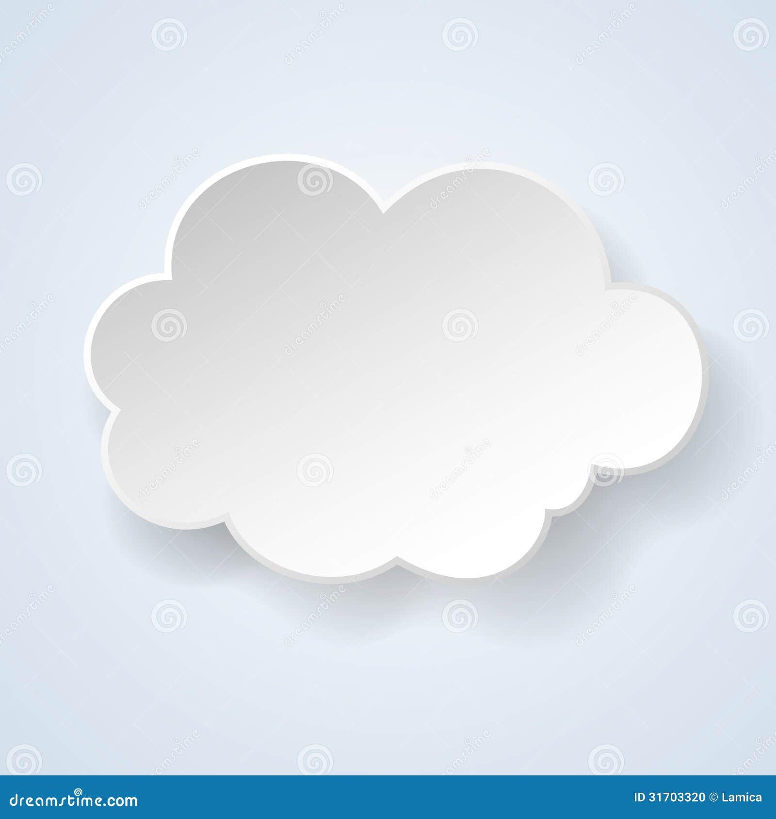 Abstrakt mowy papierowy bąbel w postaci chmury na lekki błękitnym