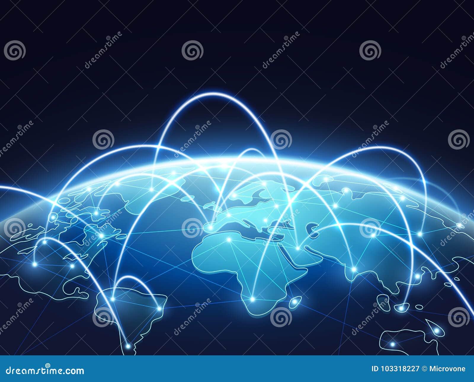 Abstrakt nätverksvektorbegrepp med världsjordklotet Internet och global anslutningsbakgrund