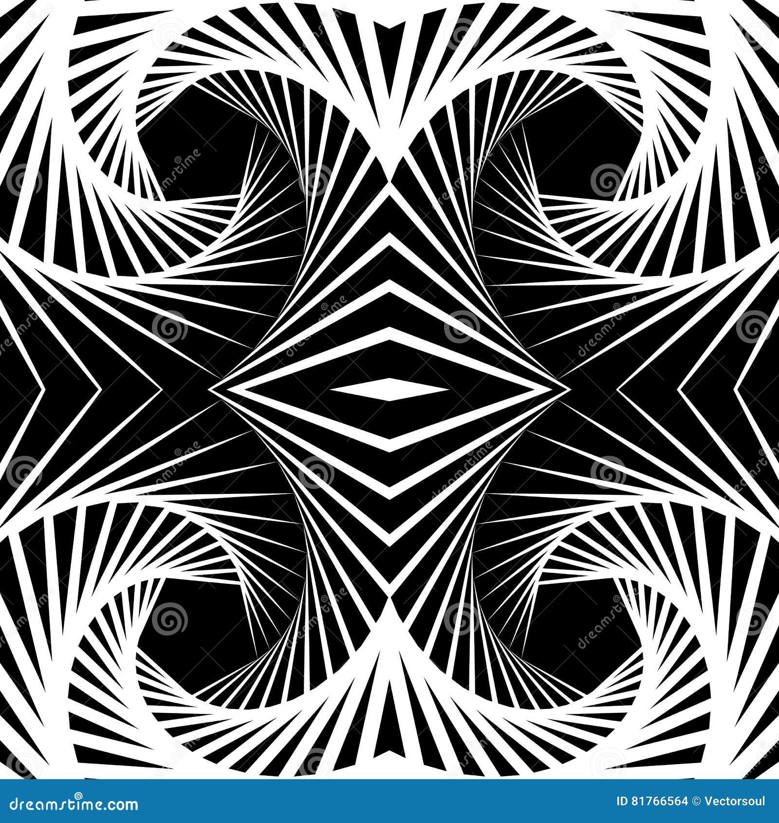 Abstrakt odzwierciedlający vortex tło, wzór Spirally monochrom