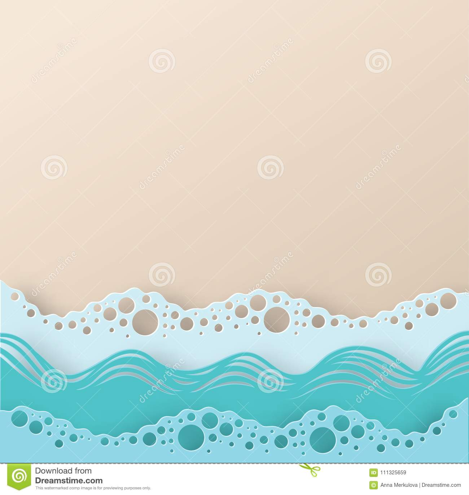 Abstrakt pappers- vågor och strand för konsthavs- eller havvatten