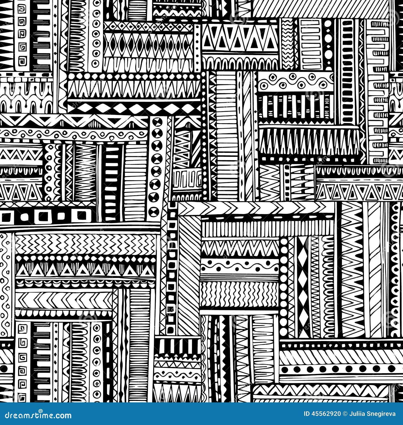 Abstrakt paskujący textured geometryczny plemienny bezszwowy wzór Wektorowy czarny i biały tło Niekończący się tekstura może używ