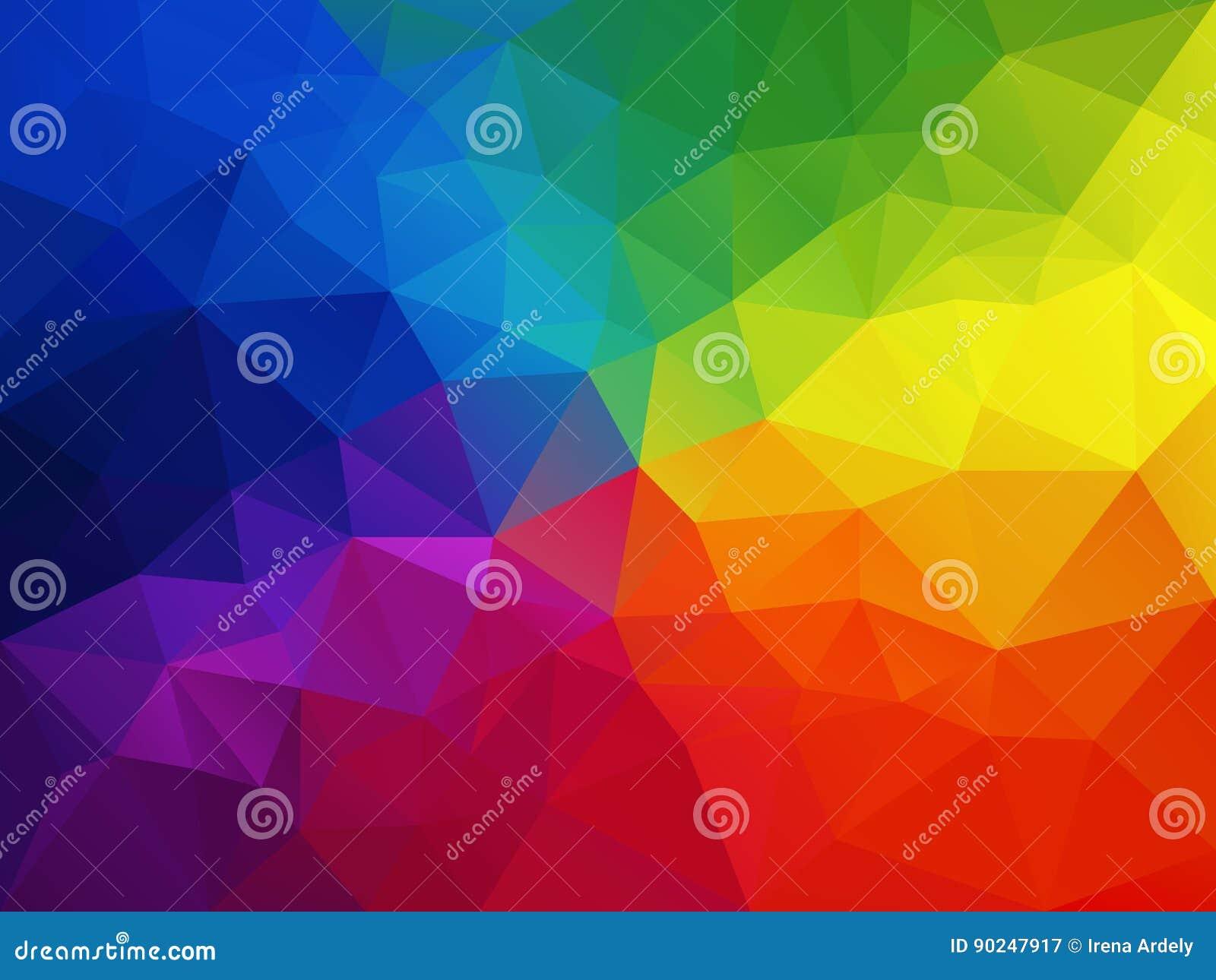 Abstrakt polygonbakgrund för vektor med en triangelmodell i mång- färg - färgrikt regnbågespektrum