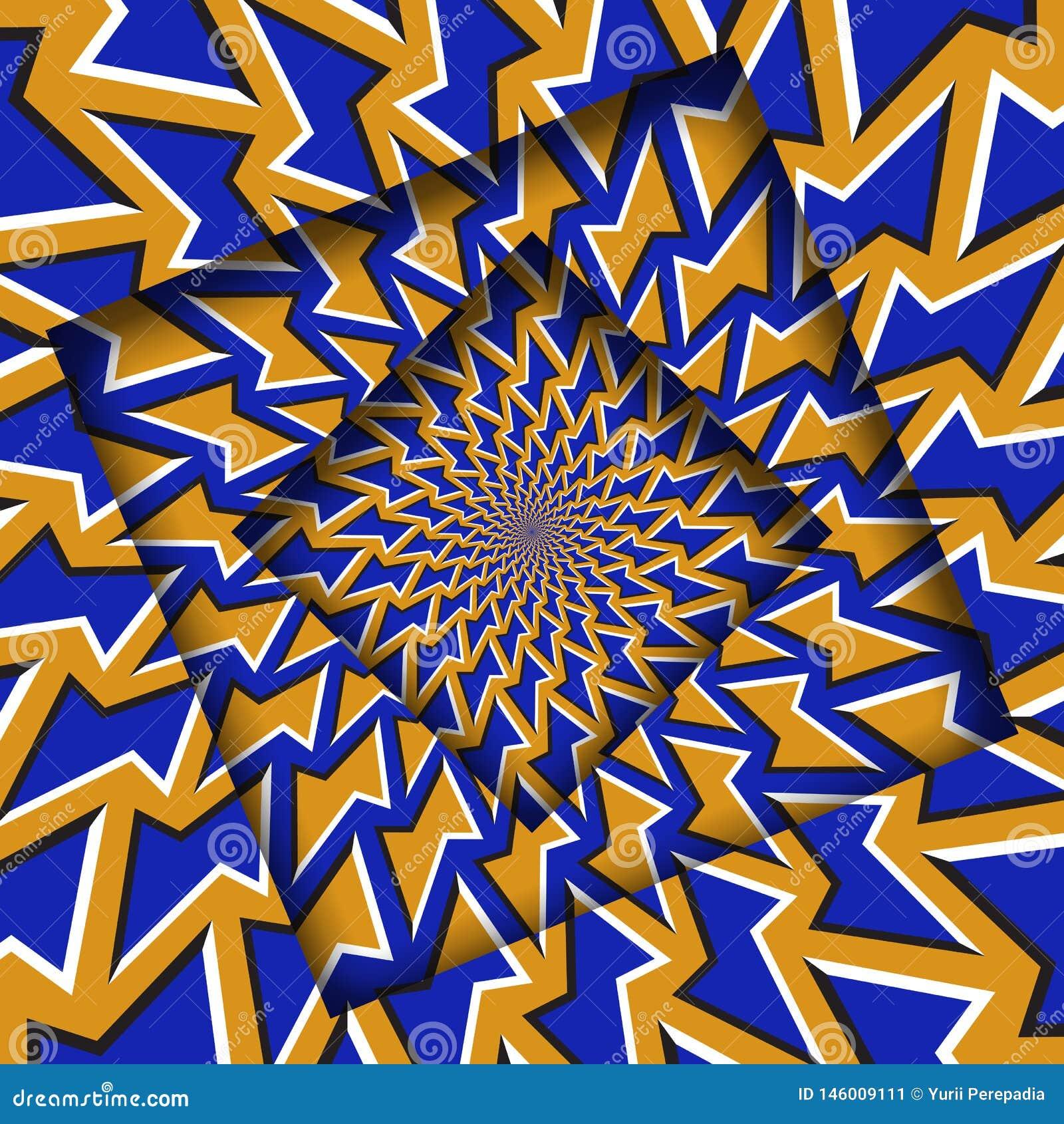 Abstrakt przesuwać ramy z poruszającym pomarańczowym błękitnym wieloboka wzorem okulistyczny t?a z?udzenie