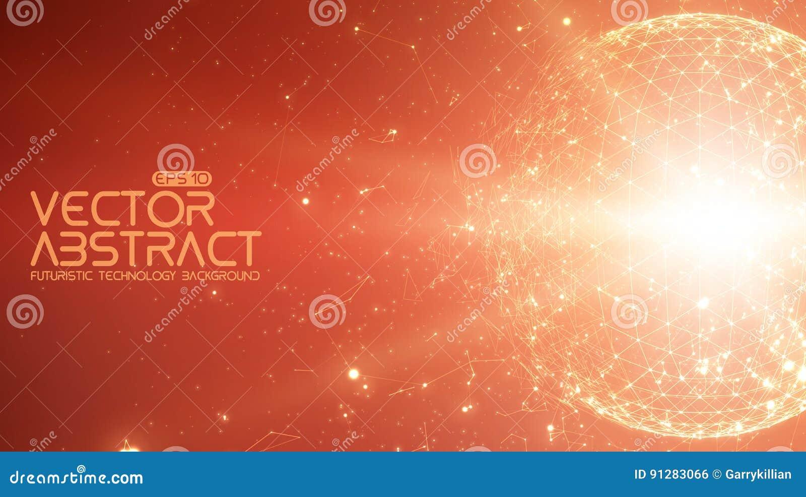Abstrakt röd bakgrund för vektorutrymme Kaotiskt förbindelsepunkter och polygoner som flyger i utrymme Flygskräp