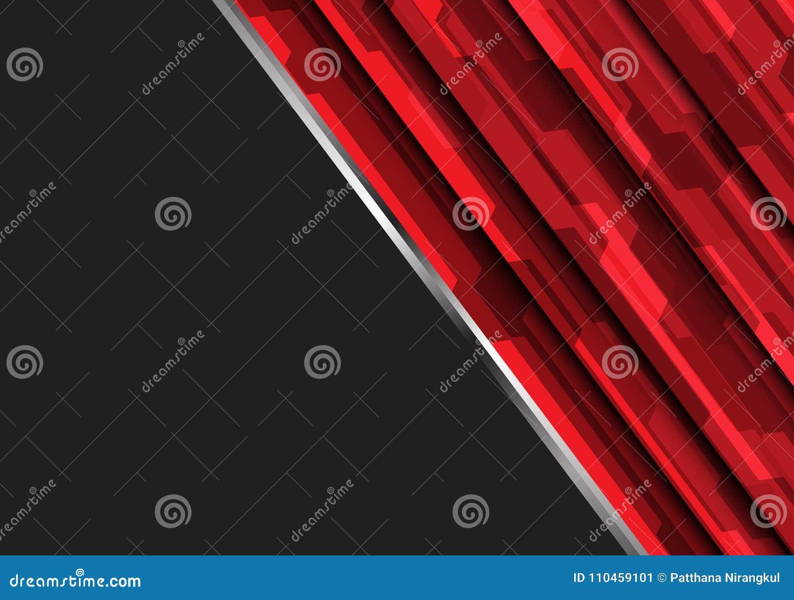 Abstrakt röd polygon som är futuristisk på mörker - för teknologivektor för grå design modern bakgrund